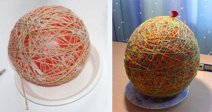 Как сделать шарики из ниток с узорами